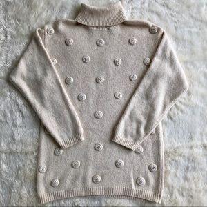 Vintage Silk/rabbit hair/cream turtle neck sweater